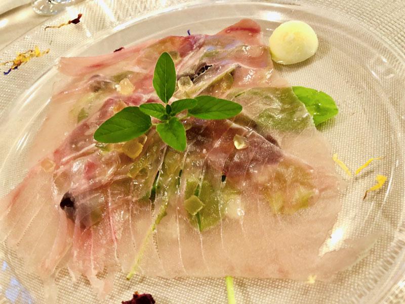 Tuna capaccio in Primula Restaurant in Nova Gorica in Slovenia