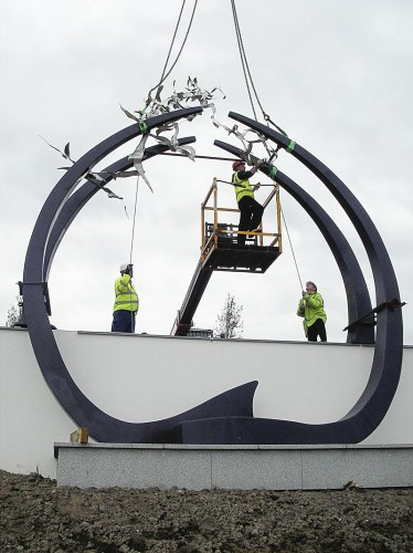 Across The Sun & Moon being installed