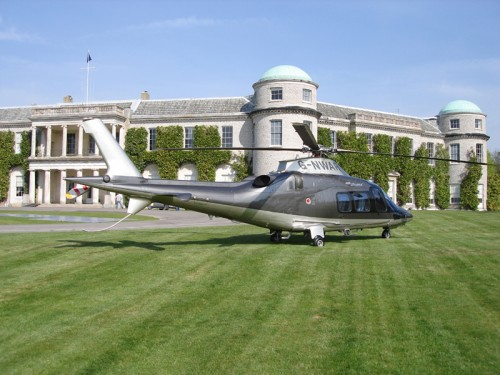 Agusta 109 outside Goodwood House