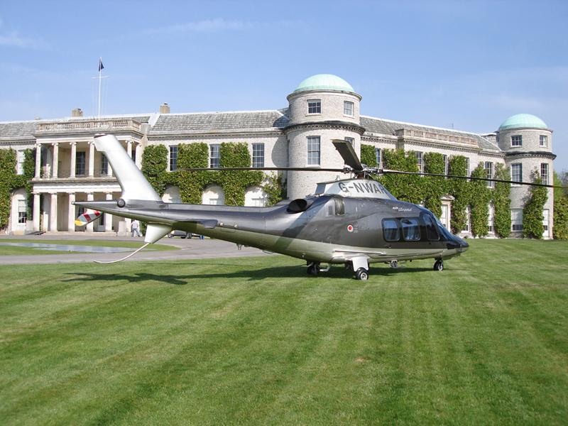 Agusta 109 outside Goodwood House
