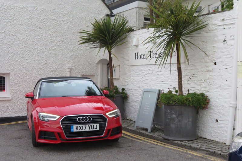 Audi A3 Cabriolet in front of Hotel Tresanton St Mawes