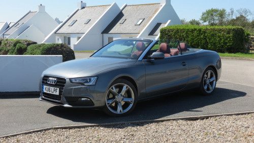 Audi A5 Cabriolet 2.0 TFSI quattro SE 230 PS S Tronic at the holiday homes built in the grounds of the St. Moritz Hotel at Trebrethrick
