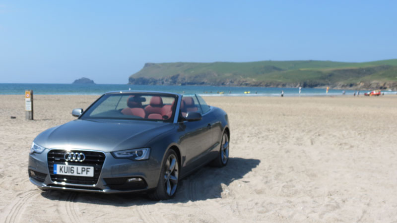 Audi A5 Cabriolet 2.0 TFSI quattro SE 230 PS S Tronic on the beach at Polzeath Cornwall