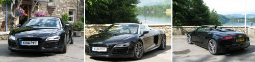 Audi R8 Spyder posed before Sharrow Bay and Ullswater