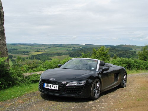 Audi R8 Spyder posed in front of Northumberland Estates