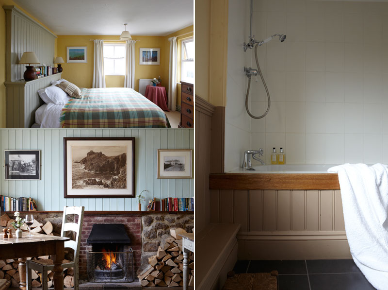 Bedroom and Bathroom and interior room at the Gurnard's Head Hotel Cornwall