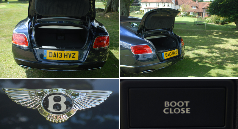 Bentley Continental GT W12 boot and boot open and close buttons