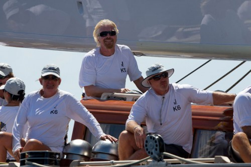 Billionaires with their own yachts still love sailing a J, Branson onboard Hanuman in St. Barths
