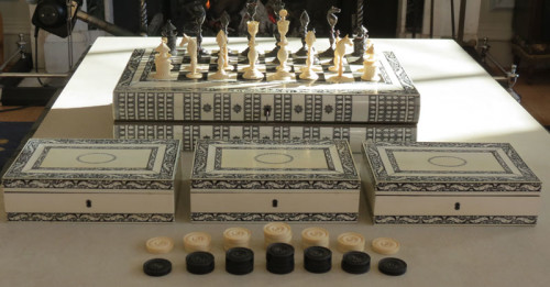Vizagapatam Ivory and Horn Chess and Backgammon Set in form of folding book