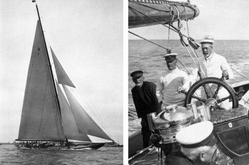Britannia sporting her Marconi rig in 1931 and the Sailor King, George V at the helm