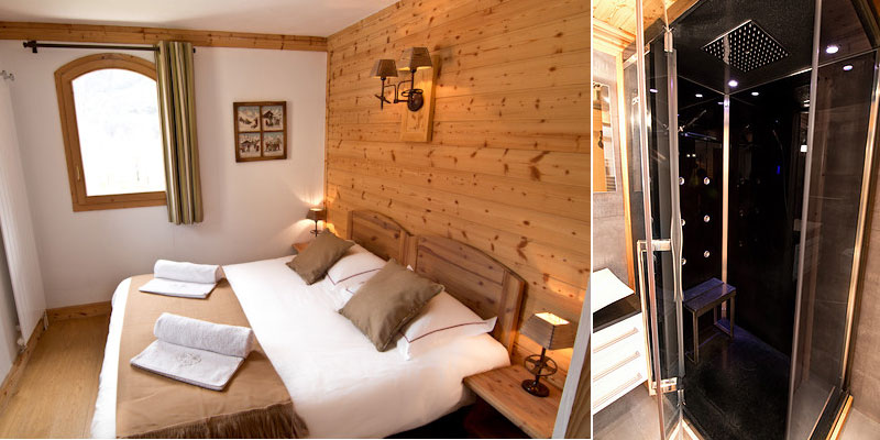 Chalet St Peres double or twin bedroom with en suite shower room with Hamman shower with sauna