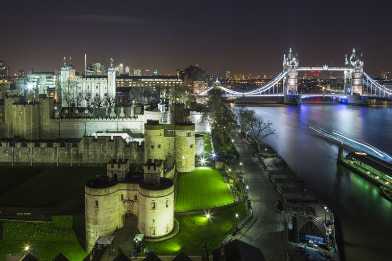 Cheval Three Quays view of Tower of London and Tower Bridge at night