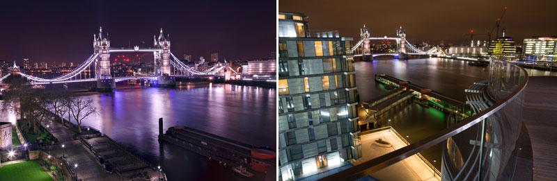 Cheval Three Quays views at night