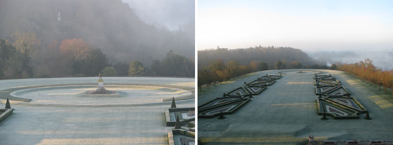 Cliveden Parterre at 6 am with morning frost
