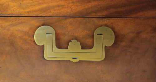 Detail of campaign handles on mahogany brass bound chess set box by Jaques containing Staunton Chessmen