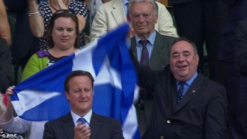 David Cameron and alex Salmond at Wimbledon