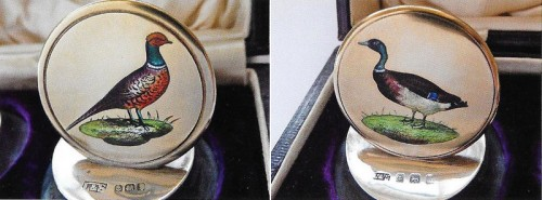 Details of Edwardian painted enamelled place card holders depicting a cock pheasant and mallard drake by Levi and Salomon Birmingham 1908