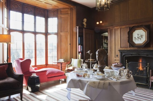 Endsleigh Hotel Library laid for afternoon tea