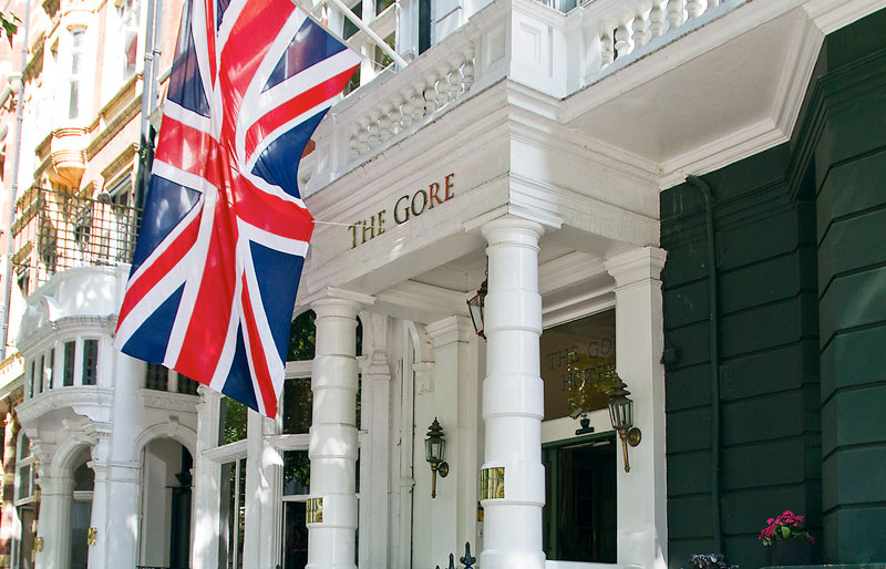 The elegant exterior of The Gore Hotel 190 Queens Gate Kensington London