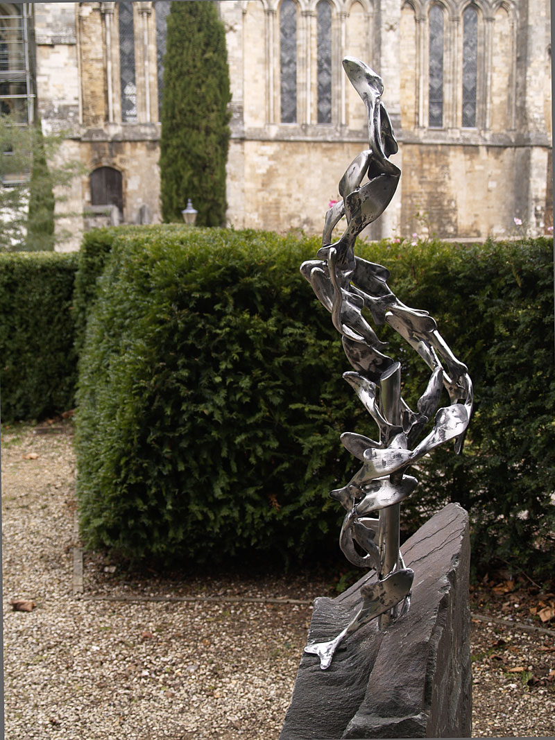 Fish Sculpture in Dean Garnier's Garden Winchester Cathedral