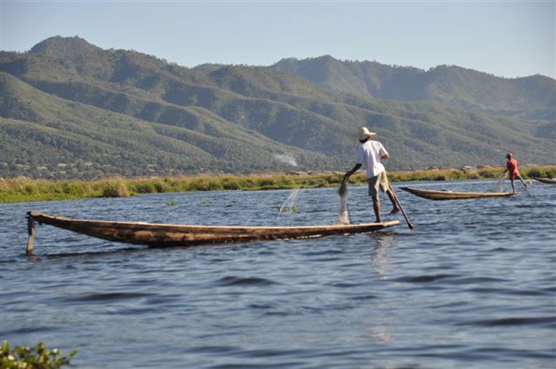 Foot paddler fishing on Inle Lake