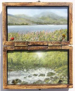Garry Periera landscape artist art work on old fly boxes