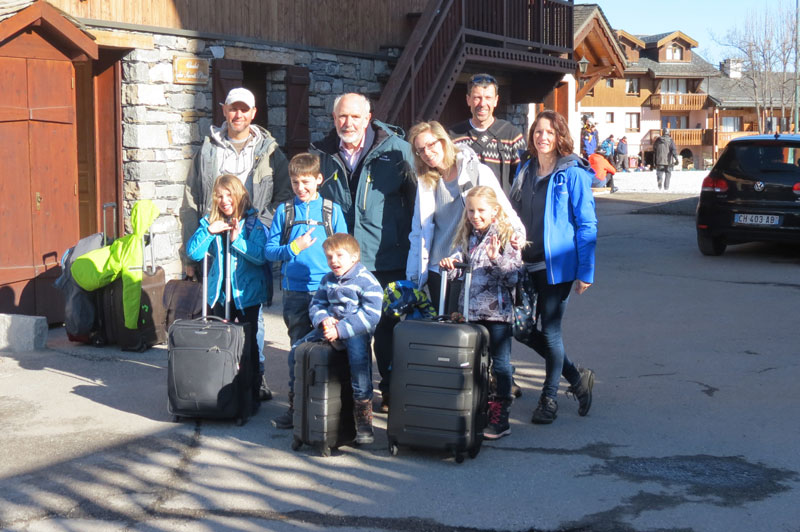The Vintage Magazine family leaving Chalet St Peres in St Martin de Belleville
