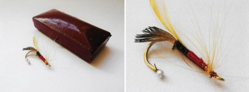 20th century gold brooch modelled as a salmon fly the end of the hook tipped with a natural pearl