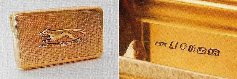 George IV 18 carat gold Snuff Box with engine turned sides and applied with a running fox by Alexander Strachan 1823 details