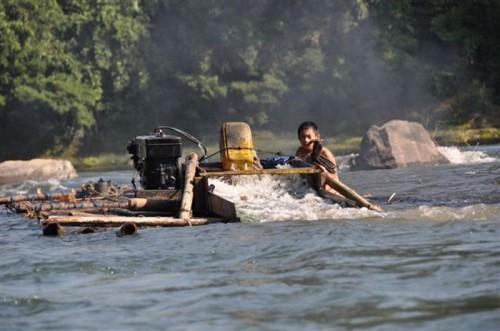 Gold dredger on Malikha River