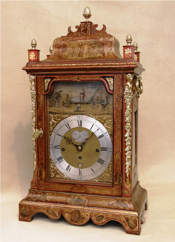 James Smith Red Lacquer Automaton Table Clock