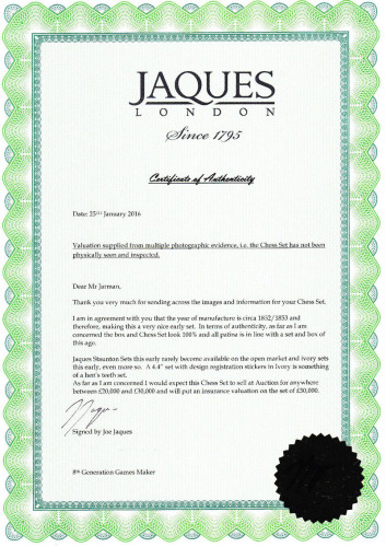 Jaques Certificate of Authenticity