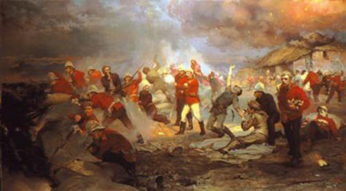 The Defence of Rorke's Drift by Lady Elizabeth Butler commissioned by Queen Victoria and inspired by survivors accounts 1880