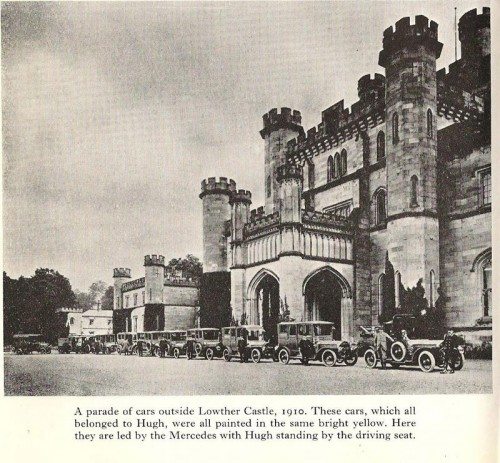 Lowther Castle with yellow Rolls Royces