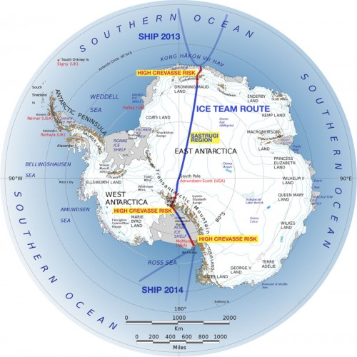 Map of Antarctic route