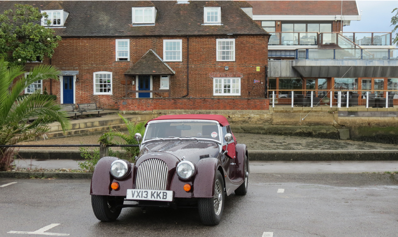 Morgan 4+4 parked in front of Royal Southern Yacht Club at Hamble le Rice