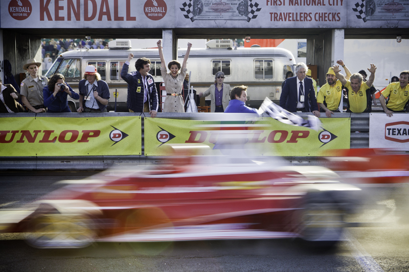 Niki Lauda winning the race, cheered by his wife, Marlene played by Romanian actress Alexandra Maria Lara