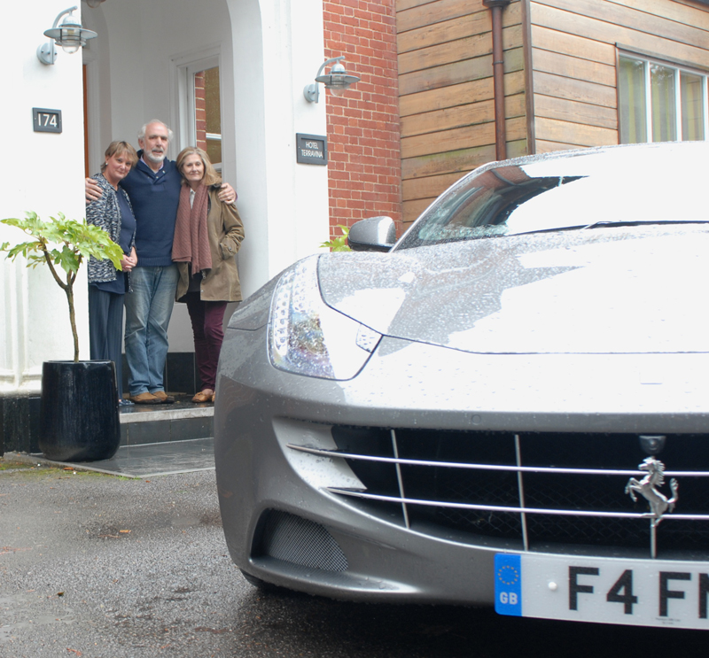 Nina Basset Robert and Chrissy Jarman with Ferrari FF at Hotel TerraVina