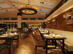 The Italian Restaurant at Novikov with its extravagant suede panelling