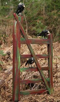 Olivia-Ferrier,-Born-1978-Three-Crows-on-a-Gate