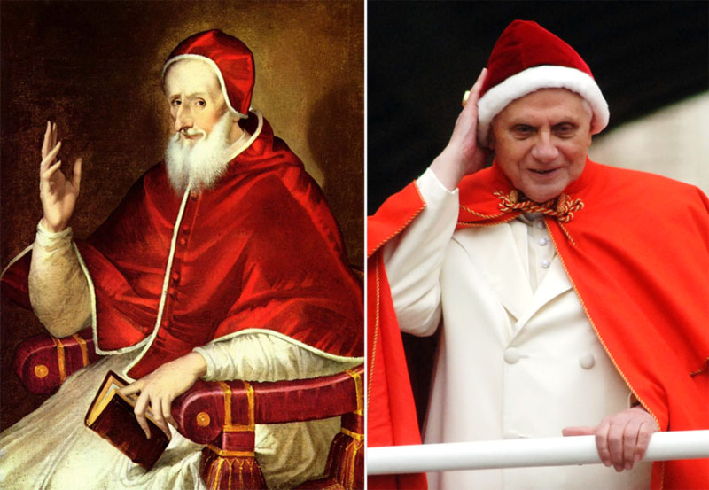 One of Pope Benedict XVI sartorial faux pas and how the cap and camauro should look.