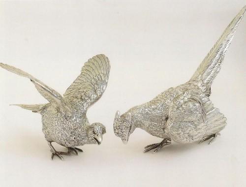 Pair-of-pheasants-in-unusual-poses