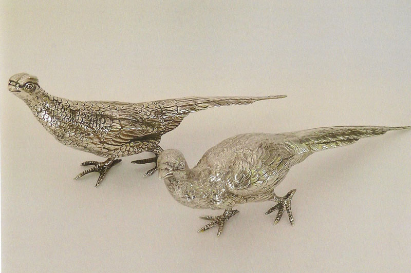 Pair-of-table-ornaments-modelled-as-a-Cock-and-Hen-Pheasant