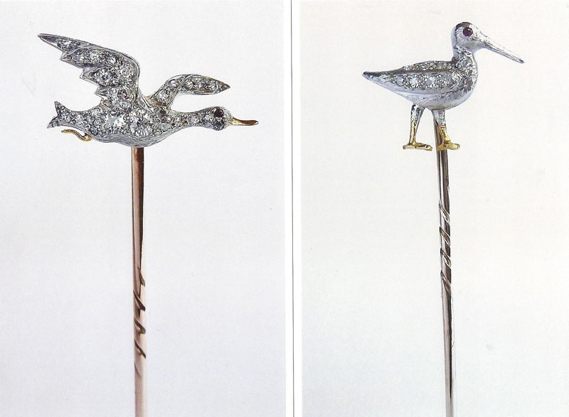 Platinum-and-Gold-Duck-Stickpin-and-Platinum-Snipe-stickpin