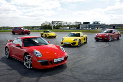 selection of Porsche Cars at Silverstone Race Track