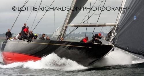 Rainbow under full power at her inaugural regatta Falmouth