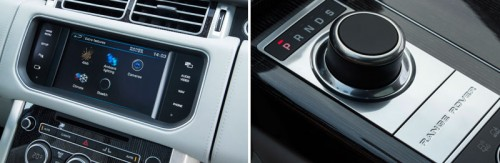 Range Rover Vogue 8 inch touchscreen displaying the extra features