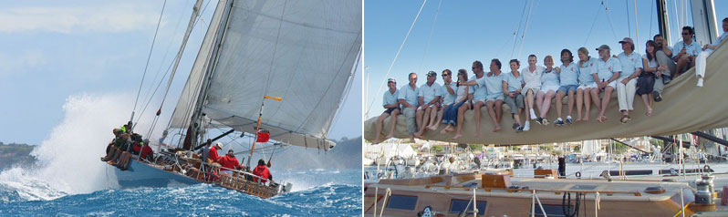 S.S.-Volterra-in-action-at-Le-Voile-de-St.-Tropez-and-the-crew-at-rest