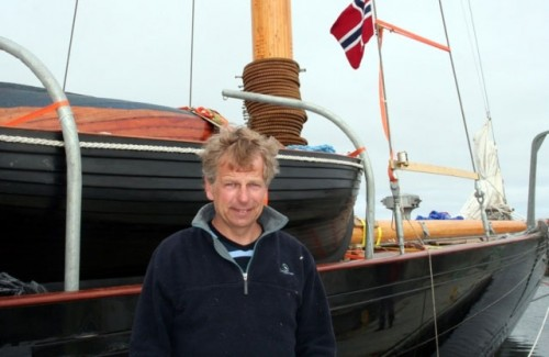 Sigurd Coates quayside with his beloved Britannia after 17 years of struggle