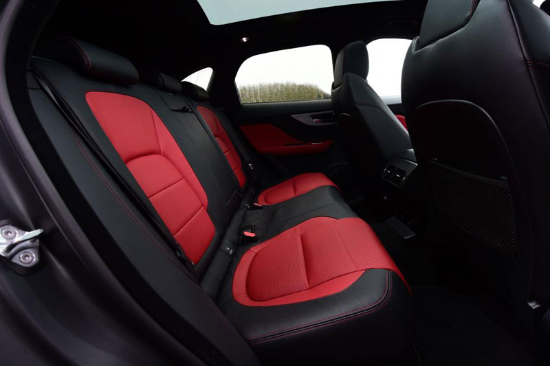 Jaguar F Pace R Sport 2.0d 180PS AWD body supporting back seats in stylish red and black leather